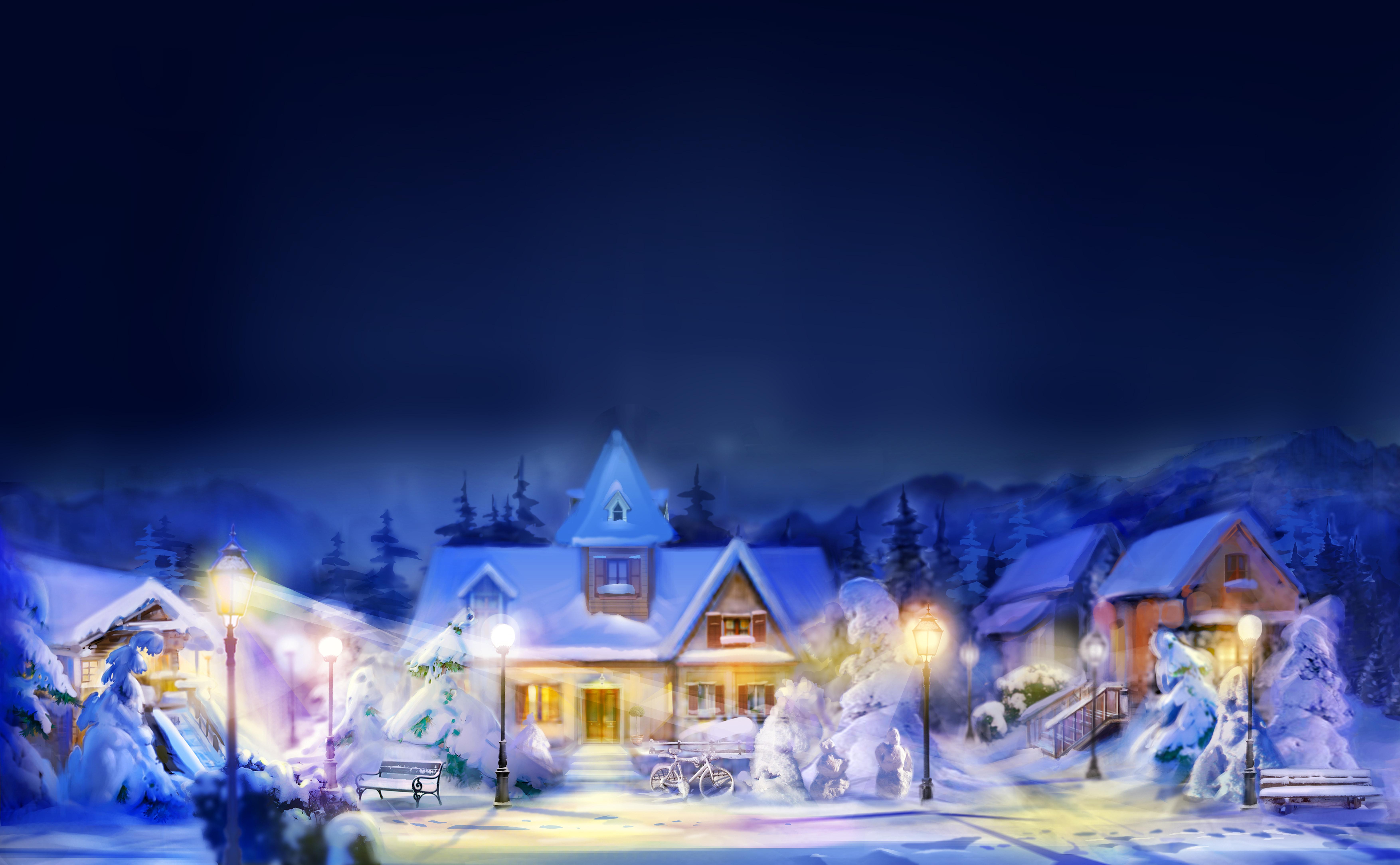 горы дом снег фонарь  № 147820  скачать