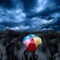Множество черных зонтов посредине с ярким зонтом.