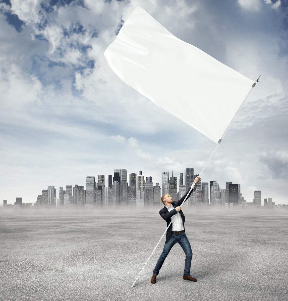Мужчина с белым флагом - Man with white flag