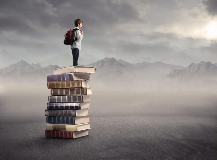 Мальчик стоит на книгах - Boy stands on books