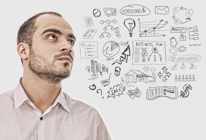 Качественный растовый клипарт на тему бизнеса, изображен мужчина с бизнес планом.
