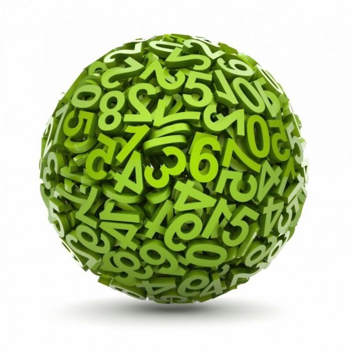 Качественный растровый клипарт с изображением мяча из цифр на белом фоне.