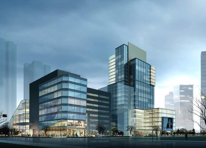 Изображение комплексного здания небоскреба в вечернем городе.