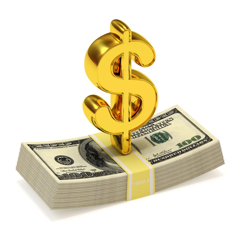 Качественный растровый клипарт с изображением денег с долларовым значком.