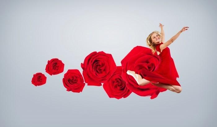 firestock girl red dress 04 09092013 Девушка в красном платье с цветами   Girl in a red dress with flowers