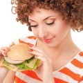 Женщина с гамбургером - Woman with hamburger