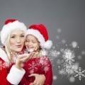 Женщина и девочка в новогодних колпаках - Woman and girl in christmas caps