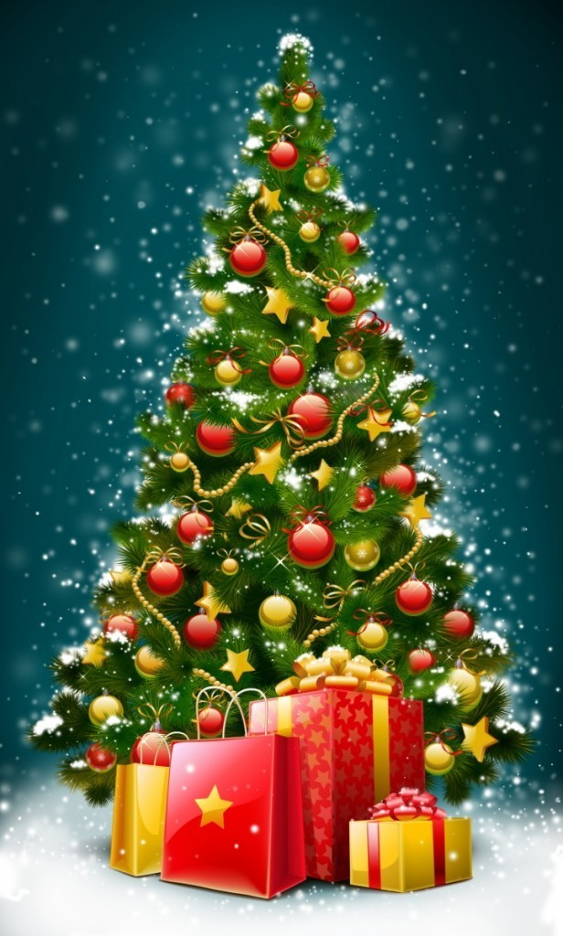 1362942237 shutterstock 42504937 616x1024 Украшенная елка с подарками   Decorated Christmas tree with gifts