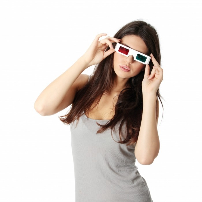shutterstock 65091259 700x699 Девушка в 3D очках   Girl in 3D glasses