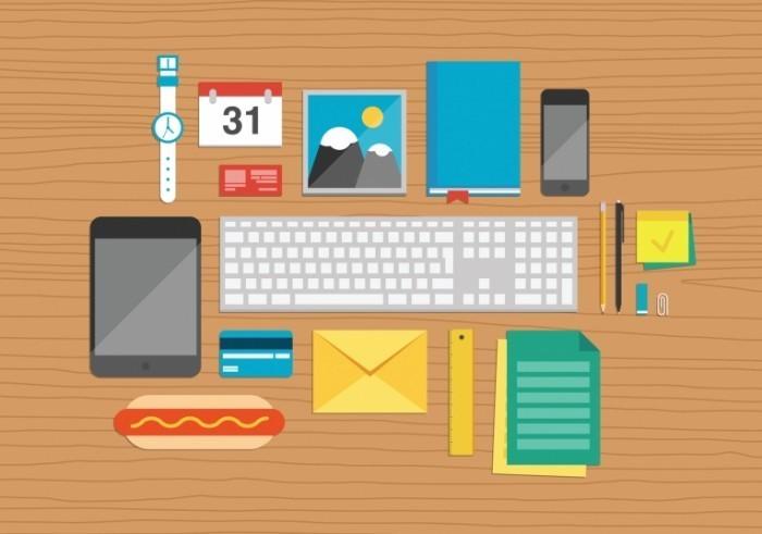 photodune 6171826 700x491 Иллюстрация офисные предметы на рабочем столе   Office elements on desktop illustration