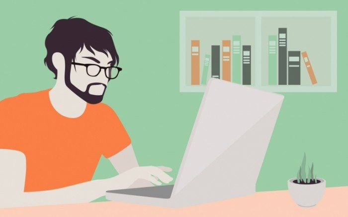 photodune 6462617 700x437 Красивый мужчина с ноутбуком иллюстрации   Handsome man with laptop illustration