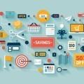 Торгово - экономическая иллюстрация - Commerce and savings flat illustration