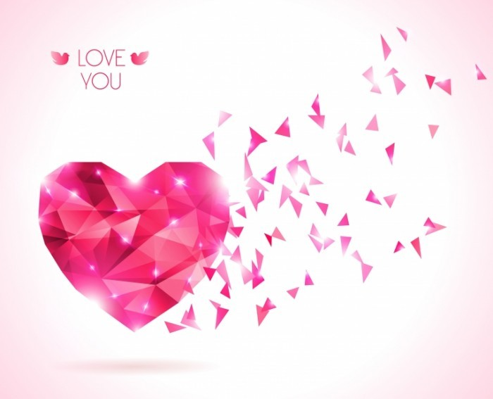 Diamond texture valentine vector background 700x567 Розовое сердце   Рink heart