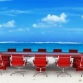 Круглый стол на берегу моря - Round table on the beach