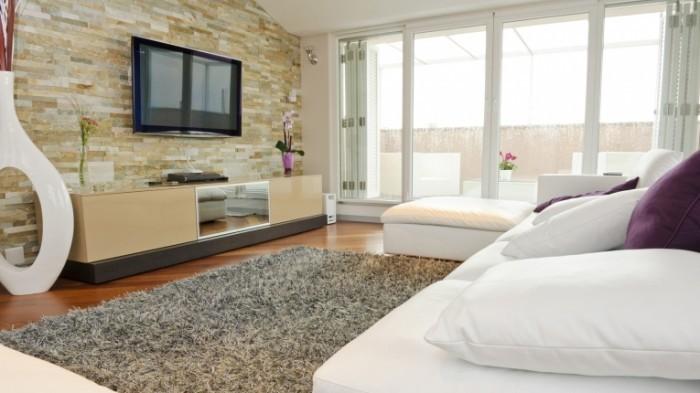 living room mounted tv 700x393 Гостиная модерн   Modern living room