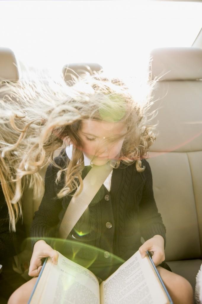 backtoschool1 682x1024 Девочка с книгой в машине   Girl with a book in the car