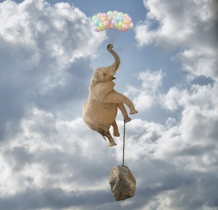 istock elephant balloon float weight1 700x673 Слон с воздушными шарами   Elephant with balloons
