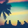 Силуэты возле пальмы - Silhouettes of palm trees near