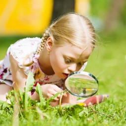 Девочка с лупой в траве - Girl with a magnifying glass in the grass