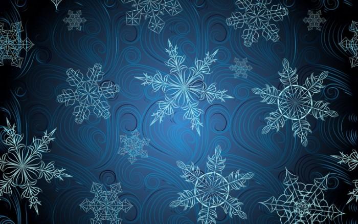 snezhinki abstrakciya siniy fon holod 76388 3840x2400 700x437 Снежинки   Snowflakes