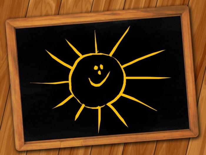 board 142741 700x529 Солнце нарисованное на школьной доске   Sun drawn on the blackboard