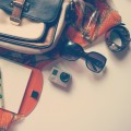 Glasses, camera and bag