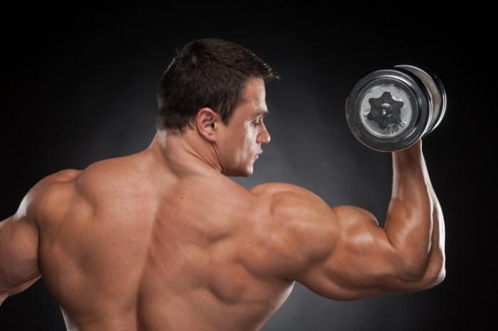 man back bodybuilder dumbbells shoulders muscular 700x466 Бодибилер   Bodybuilder