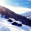 Cabin in the snowy mountains - Домик в снежных горах