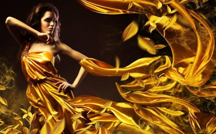 Brunette Dress Light Style 3840    2400 700x437 Девушка в золоте Brunette Dress Light Style