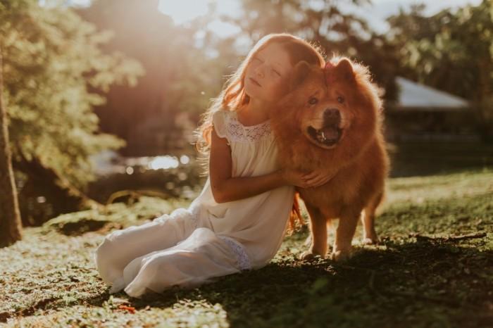 девочка с собакой   girl with a dog