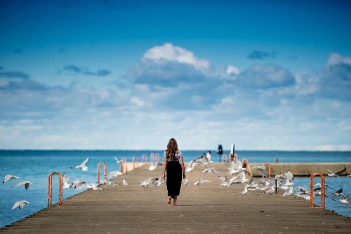 CHayki pirs devushka Seagulls pier girl 5216  3482 700x466 Чайки, пирс, девушка   Seagulls, pier, girl
