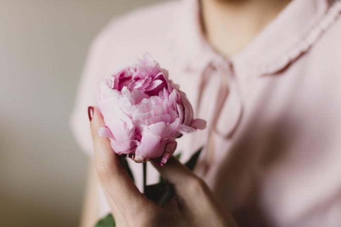 Devushka rozovyiy tsvetok v rukah Girl pink flower in hands 6000  4000 700x466 Девушка, розовый цветок в руках   Girl, pink flower in hands