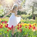 Девушка среди тюльпанов, луг, Голландия - Girl among tulips, meadow, Holland