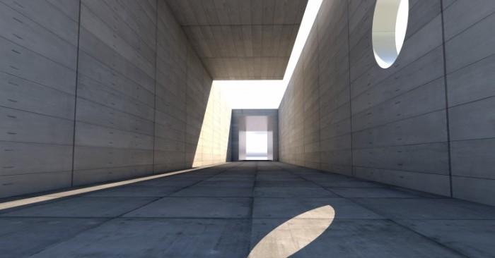 Бетонный тоннель, архитектура, солнце на стене   Concrete tunnel, architecture, sun on the wall