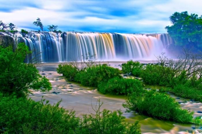 Водопад, река, ручей, прибрежные растения   Waterfall, river, stream, coastal plant