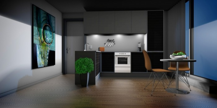 Render kuhni v strogom temnom stile Render kitchen in a simple dark style 4200  2100 700x349 Рендер кухни в строгом темном стиле   Render kitchen in a simple dark style