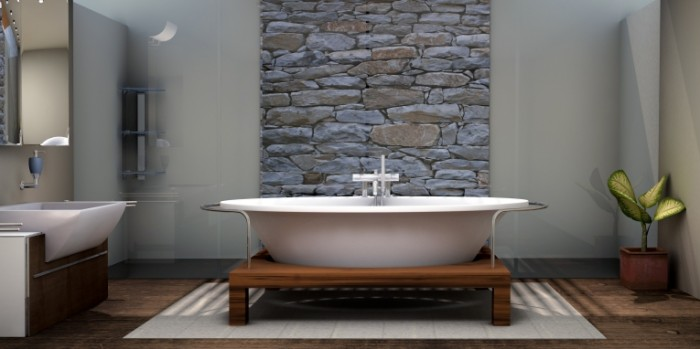 Vanna so stenoy iz naturalnogo kamnya Bath with a wall of natural stone 4400  2200 700x349 Ванна со стеной из натурального камня   Bath with a wall of natural stone