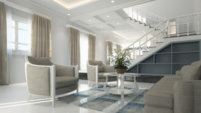 Interer dvuhe`tazhnoy svetloy kvartiryi interior of a two story bright apartment 2844  1600 700x393 Интерьер двухэтажной светлой квартиры   interior of a two story bright apartment