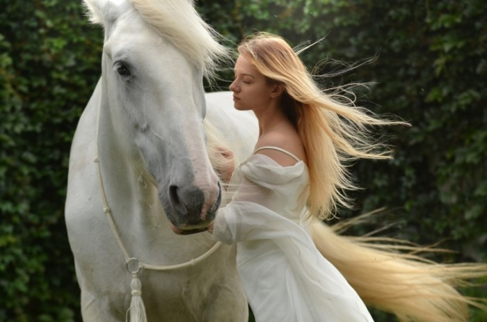 ZHenshhina blondinka v belom plate ryadom s beloy loshadyu Woman blonde in a white dress next to a white horse 4500  2981 700x463 Женщина блондинка в белом платье рядом с белой лошадью   Woman blonde in a white dress next to a white horse
